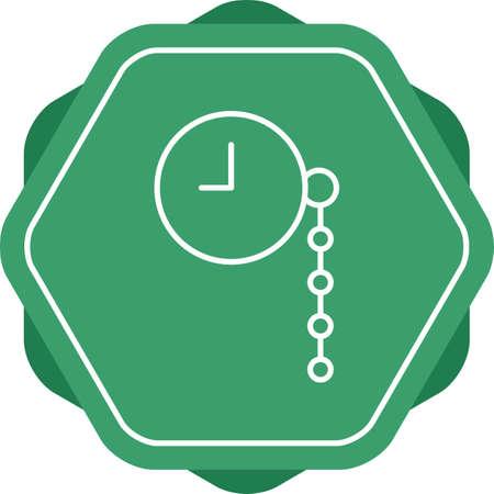 Unique Pocket Watch Vector Line Icon Illustration