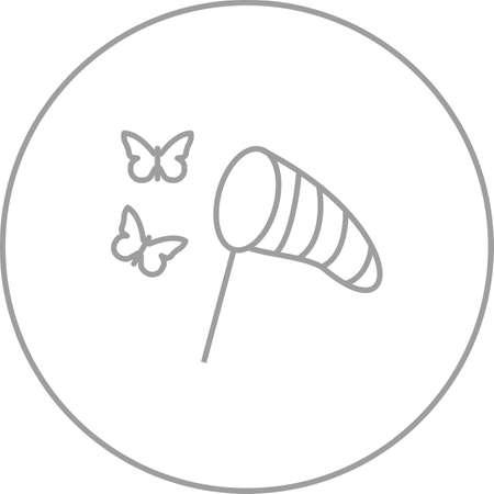 Unique Catching Butterflies Line Vector Icon