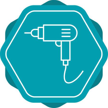 Unique Drill Machine Line Vector Icon Ilustração
