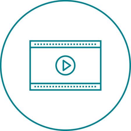 Unique Video Player Vector Line Icon Ilustrace