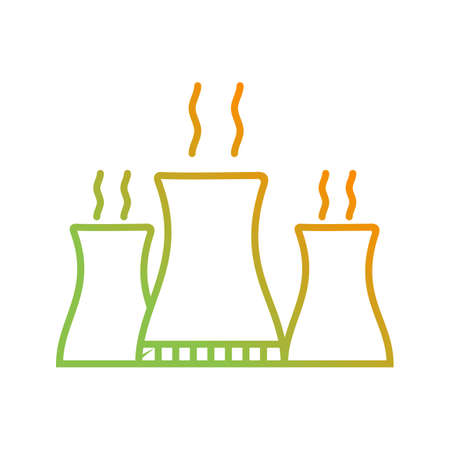 Unique Nuclear Plant Vector Line Icon