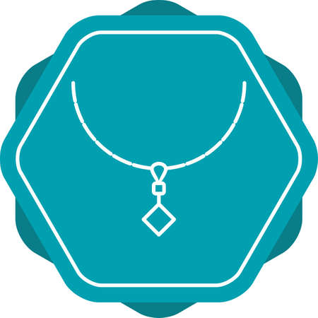Unique Necklace Vector Line Icon Illustration