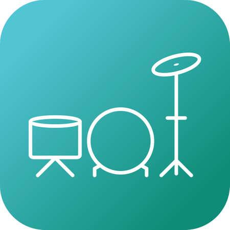 Unique Drums Vector Line Icon Ilustração