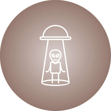 Unique Alien Abduction Vector Line Icon