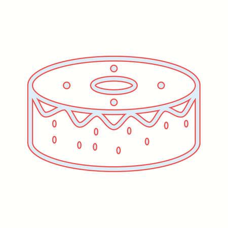 Unique Birthday Cake Vector Line Icon Çizim