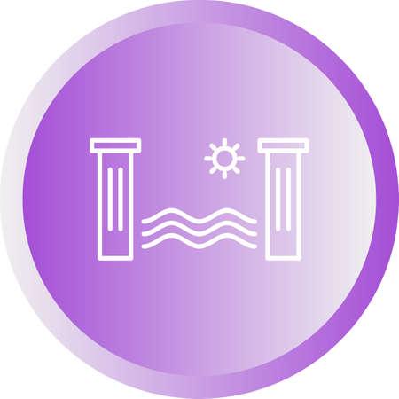 Unique Hydro Power Vector Line Icon Иллюстрация