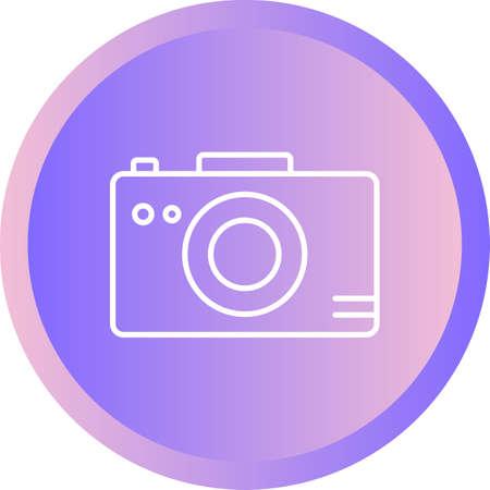 Unique Photograph On Camera Vector Line Icon Ilustração