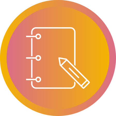 Unique Papers And Pencil Vector Line Icon