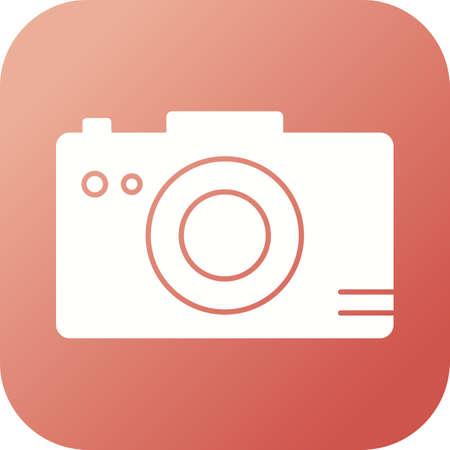 Unique Photograph On Camera Vector Glyph Icon