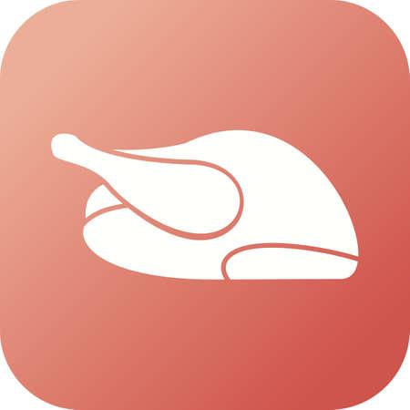 Unique Roasted Chicken Vector Glyph Icon