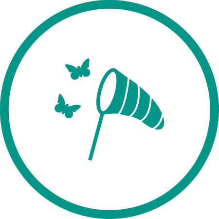 Unique Catching Butterflies Glyph Vector Icon Çizim