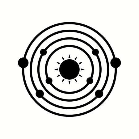 Unique Planet orbiting Sun Vector Glyph Icon