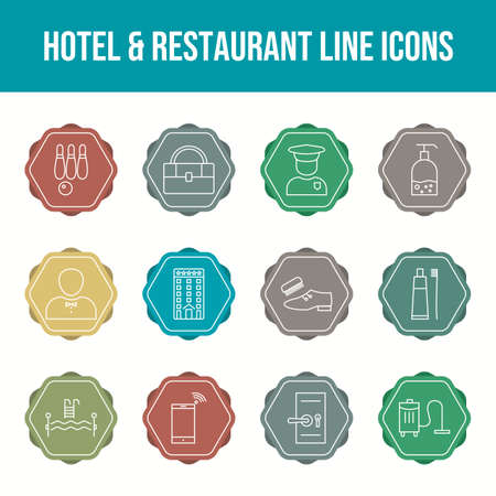 Beautiful Hotel & Restaurant vector icon set