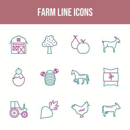Beautiful Farm vector icon set