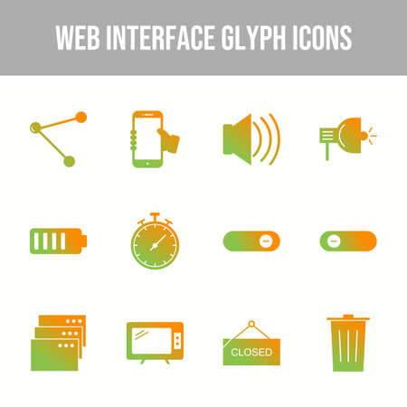 Beautiful Web Interface vector icon set Illustration