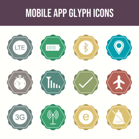 Unique Mobile Apps Icons Set Illustration