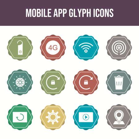 12 Mobile App Vector Icons in One Set Ilustração