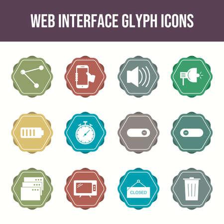 Beautiful Web Interface vector icon set Illustration