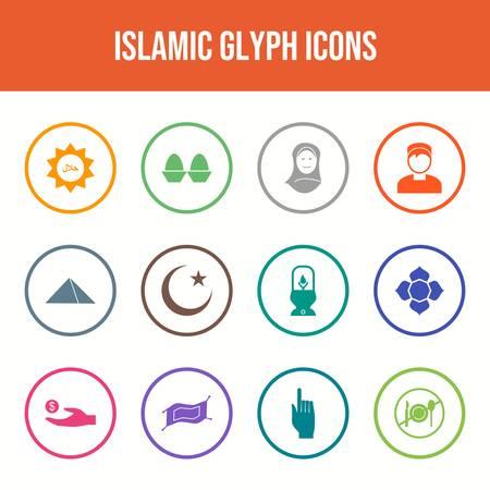 Beautiful Islamic vector icon set Иллюстрация