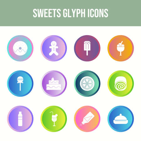 12 Sweets Vector Icons in One Set
