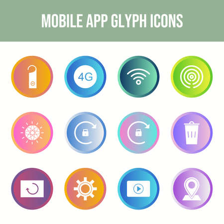 12 Mobile App Vector Icons in One Set Иллюстрация