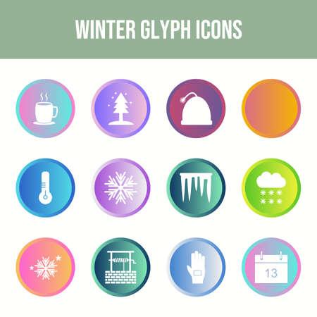 Beautiful Winter vector icon set
