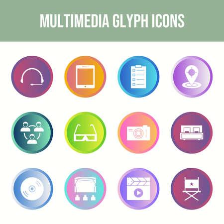 Beautiful Multimedia vector icon set Ilustração