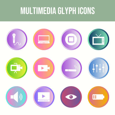 Beautiful Multimedia vector icon set Иллюстрация