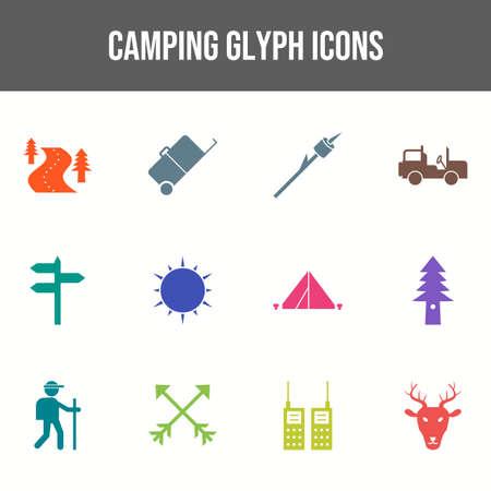 Beautiful Camping vector icon set