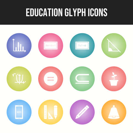 Beautiful Education 12 Vector Icons Иллюстрация