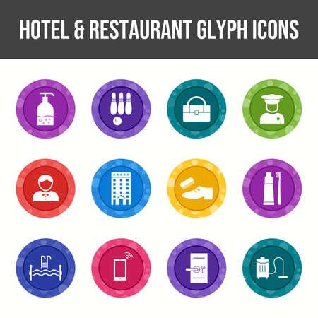 Beautiful Hotel & Restaurant vector icon set