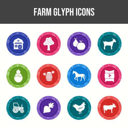 Beautiful Farm vector icon set Иллюстрация