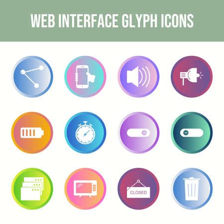 Beautiful Web Interface vector icon set Иллюстрация