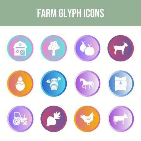 Beautiful Farm vector icon set Ilustração