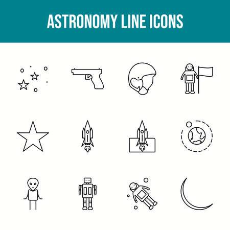 Unique astronomy vector line icon set