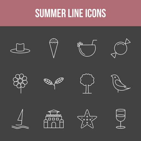 Unique summer vector line icon set