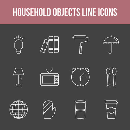 Unique household objects vector line icon set