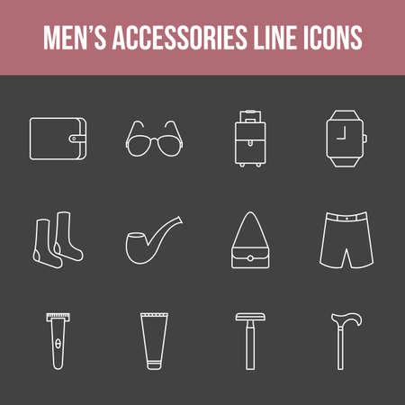 Unique men's accessories vector line icon set