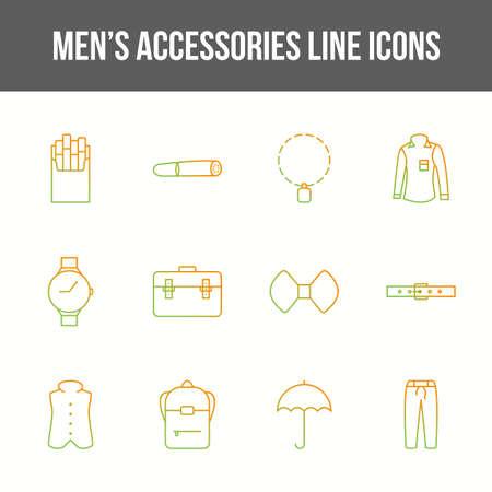 Unique men's accessories vector line icon set 免版税图像 - 146626585