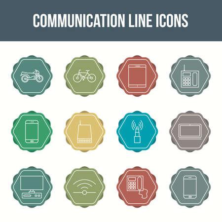Unique communication vector line icon set