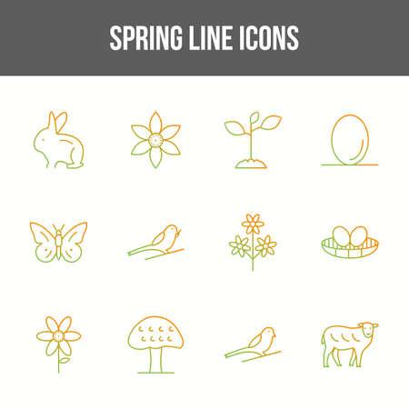 Unique spring vector line icon set Illustration