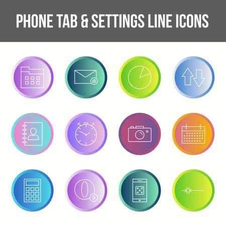 Unique phone tab & settings vector line icon set Ilustração Vetorial