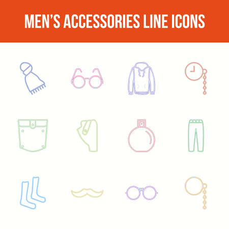 Unique men's accessories vector line icon set