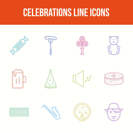 Unique celebration vector line icon set Фото со стока - 148083388