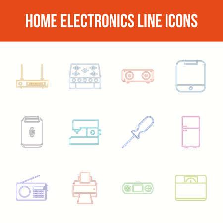 Unique home electronics vector line icon set
