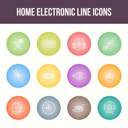 Unique home electronic vector line icon set Ilustração