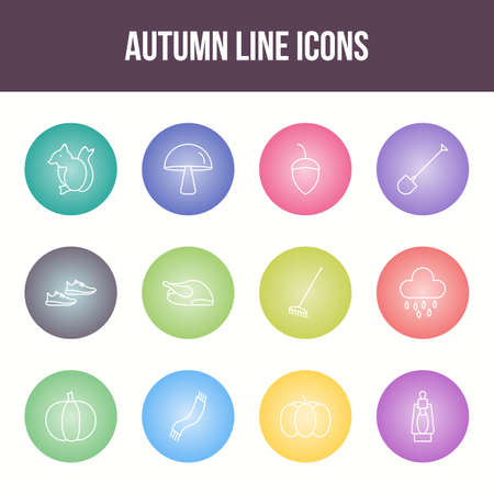 Unique autumn vector line icon set Фото со стока - 148083599