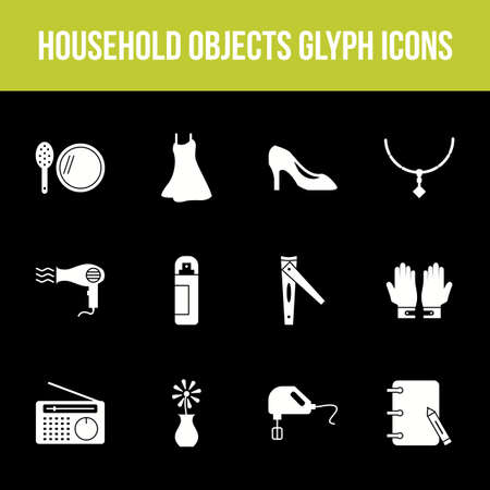 Unique household objects vector glyph icon set