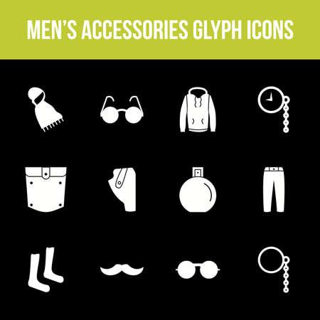 Unique men's accessories vector glyph icon set Illusztráció