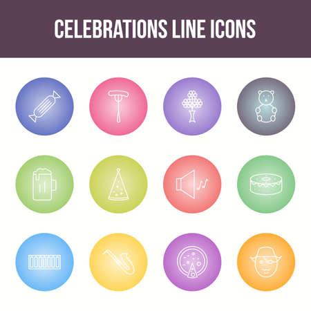 Unique celebration vector line icon set Иллюстрация
